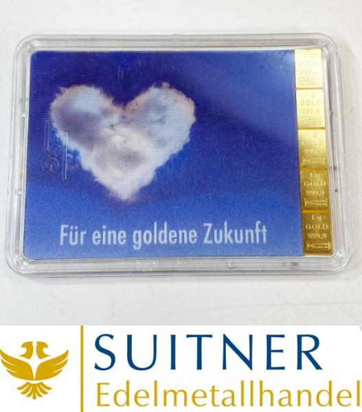 """5 Gramm Feingold Tafelbarren """"Für eine goldene Zukunft"""" Geschenkset"""