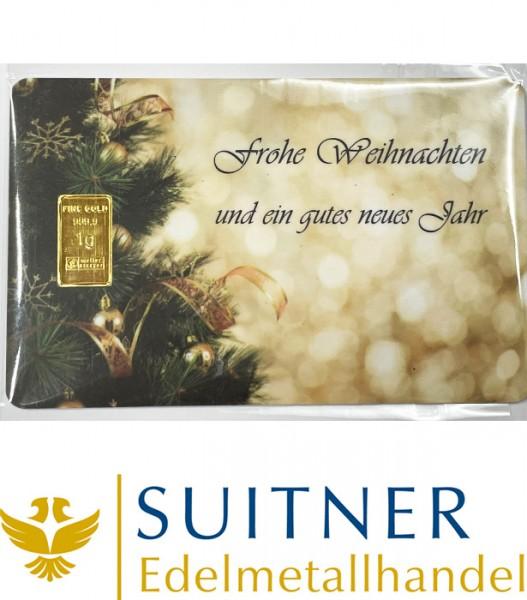 1 Gramm Gold Geschenkkarte Frohe Weihnachten