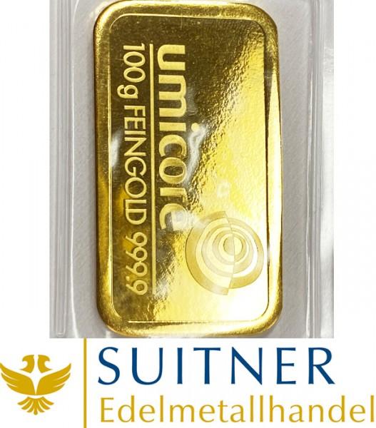 100 Gramm Goldbarren Umicore