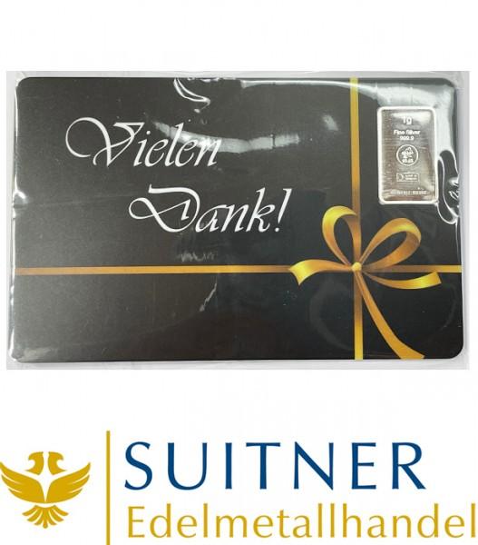 1 Gramm Silber Geschenkkarte Vielen Dank