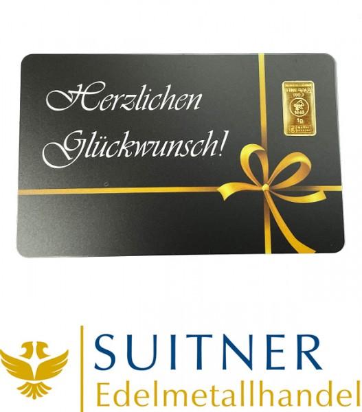 1 Gramm Gold Geschenkkarte Herzlichen Glückwunsch