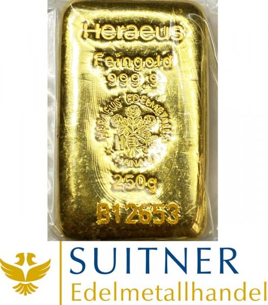 250 Gramm Goldbarren - Feingold - Heraeus