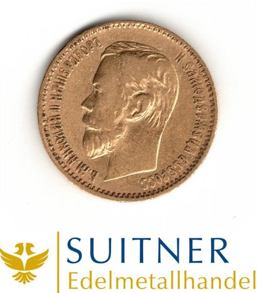 5 Rubel Goldmünze 1897 Zar Nikolaus II