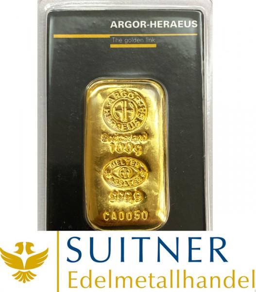 100 Gramm Goldbarren Argor-Heraeus