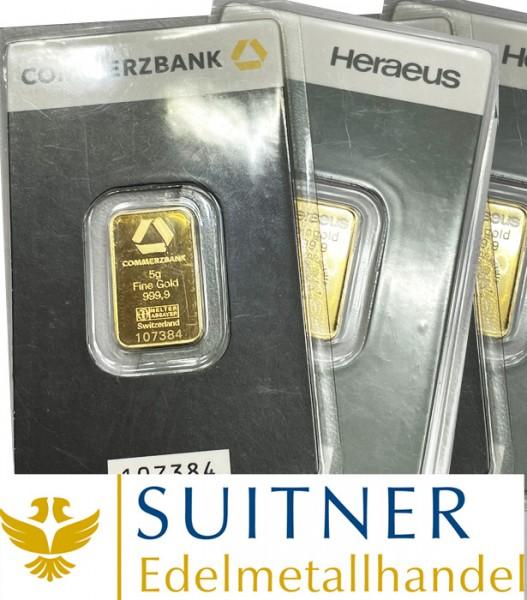 5 Gramm Goldbarren 999 Feingold