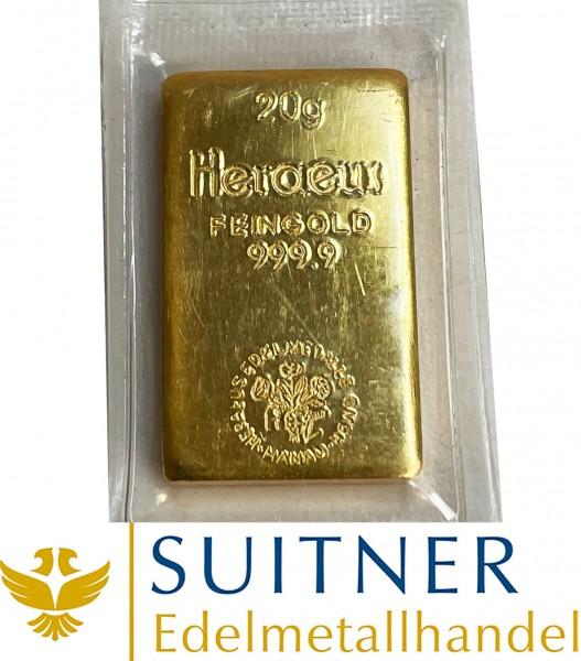 20 Gramm Goldbarren Feingold Heraeus