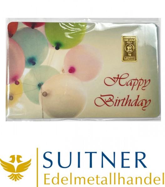 1 Gramm Gold Geschenkkarte Happy Birthday