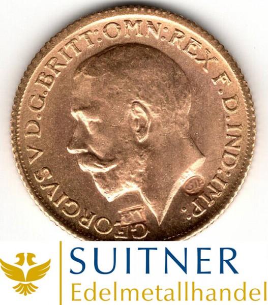 1 Sovereign Goldmünze - mit Gegenstempeln - selten