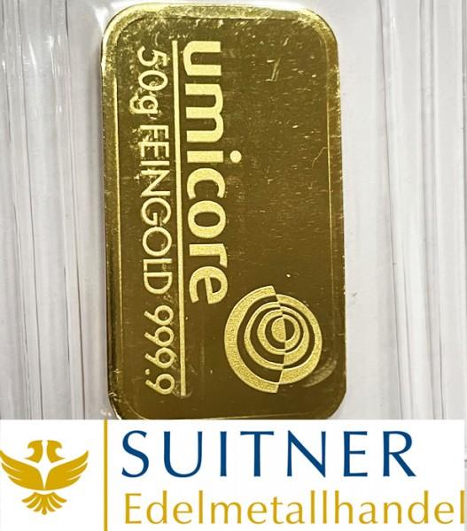 50 Gramm Goldbarren Umicore