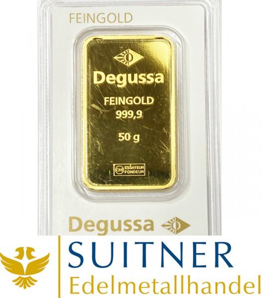 50 Gramm Goldbarren Degussa
