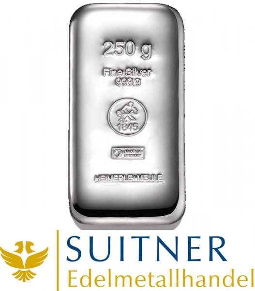 250 Gramm Silberbarren - Feinsilber - Heimerle und Meule