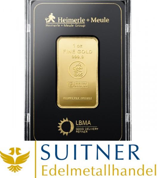 1 Unze Goldbarren 31,1 Gramm Feingold - Heimerle und Meule