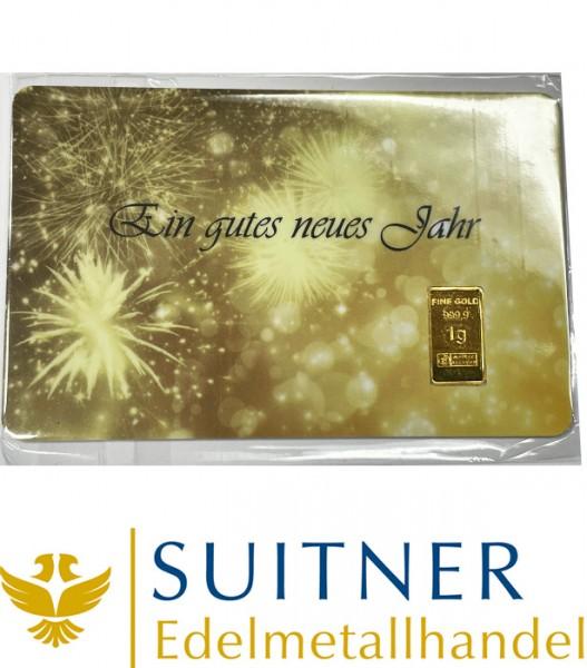 1 Gramm Gold Geschenkkarte Ein gutes neues Jahr