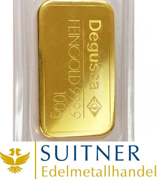 100 Gramm Goldbarren Degussa