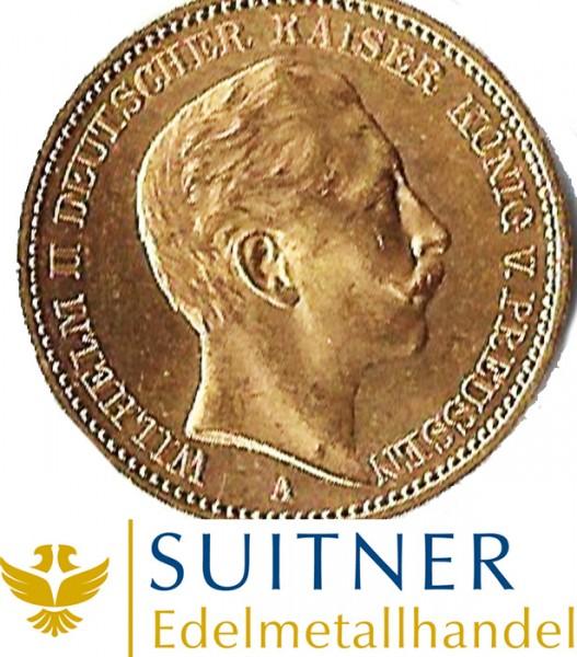 20 Mark Preussen Wilhelm II Goldmünze - Deutsches Kaiserreich