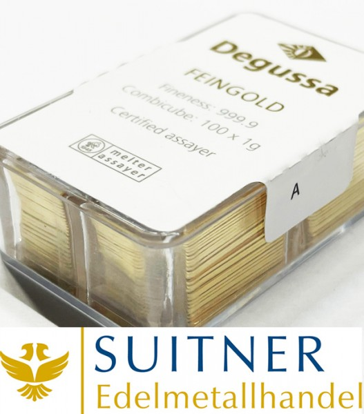 100 x 1 Gramm Degussa Goldbarren Combicube 100g Feingold