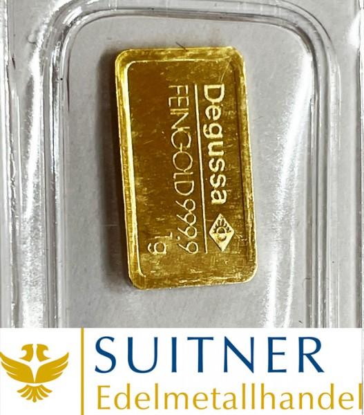 1 Gramm Goldbarren Degussa