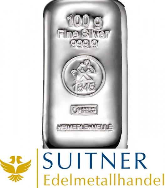 100 Gramm Silberbarren - Feinsilber