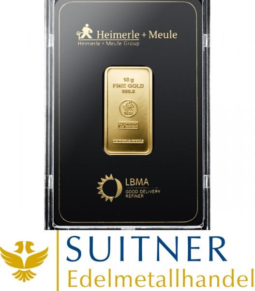 10 Gramm Goldbarren Heimerle und Meule