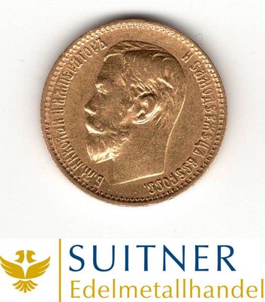 Ankauf 5 Rubel Goldmünze Zar Nikolaus II