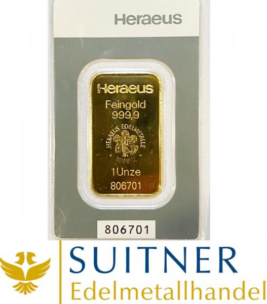 1 Unze Goldbarren Heraeus Kinebar