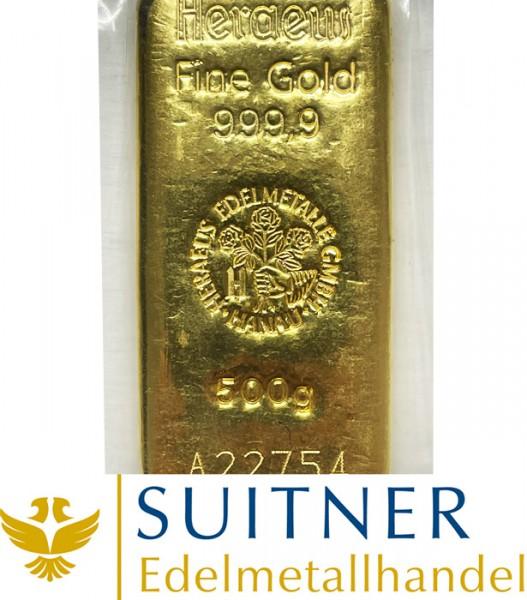 500 Gramm Goldbarren