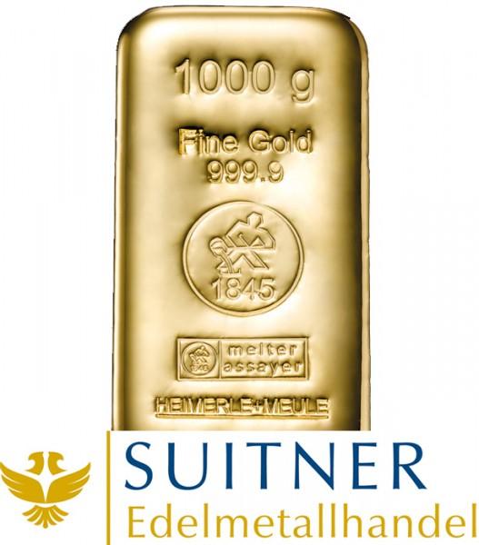 1000 Gramm Goldbarren Heimerle und Meule