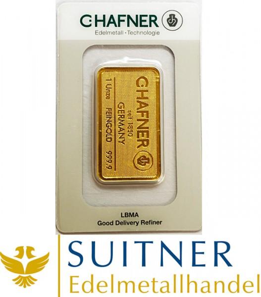 C. Hafner 1 Unze Goldbarren 31,1 Gramm Feingold