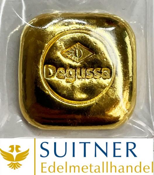 1 Unze Goldbarren Degussa Kissenform