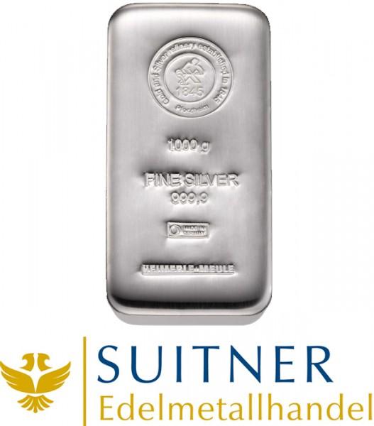 in Kürze wieder lieferbar! 1000 Gramm Silberbarren - 1kg Feinsilber - Heimerle und Meule