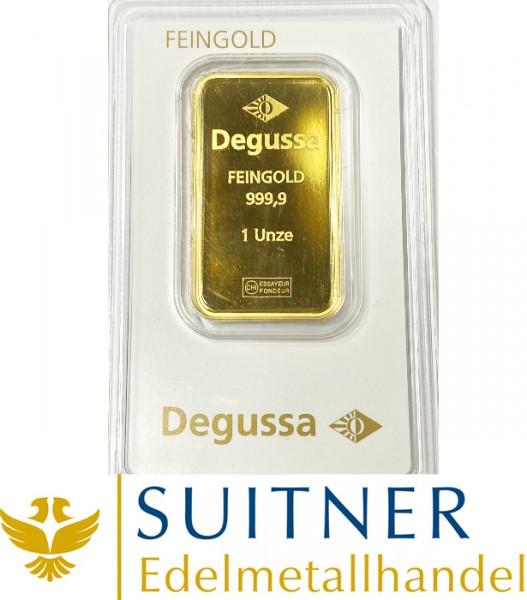 1 Unze Goldbarren Degussa